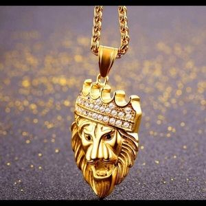 Gold plated lion head necklace
